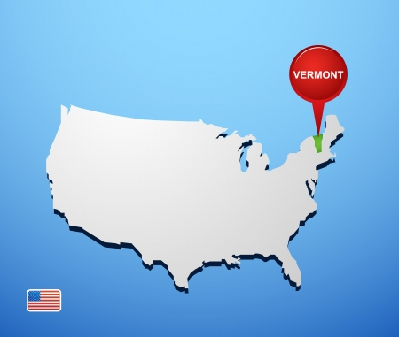 Vermont on USA map Vector