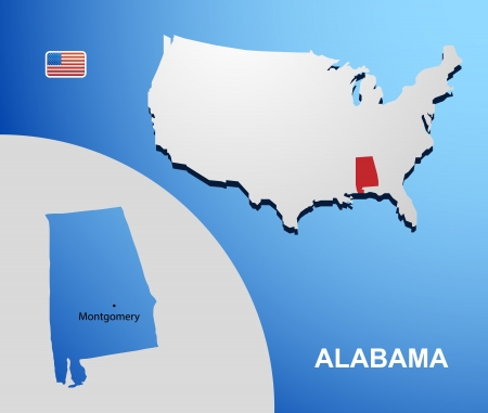 Alabama on USA map with map of the state Vector