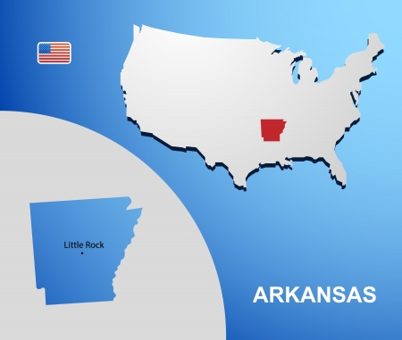 Arkansas on USA map with map of the state Vector