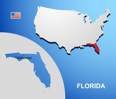 Florida on USA map with map of the state Vector