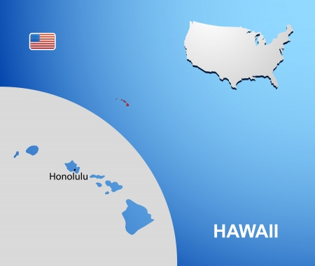 Hawaii on USA map with map of the state Vector