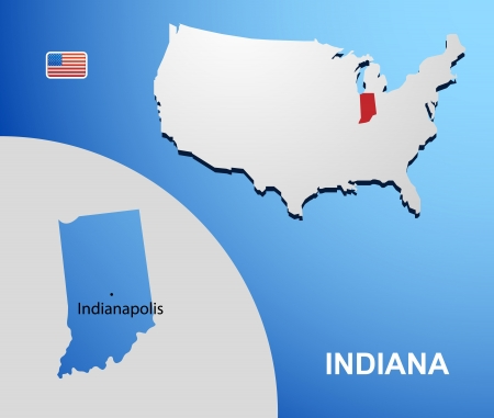 Indiana on USA map with map of the state Vector