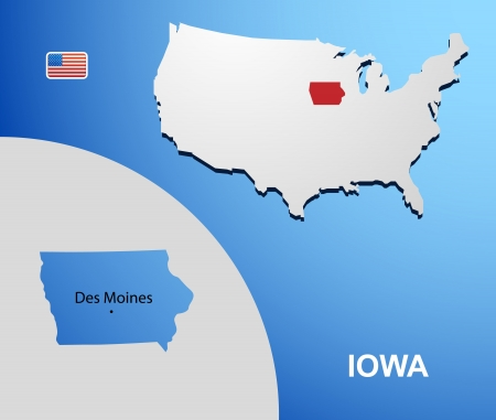 Iowa on USA map with map of the state Vector