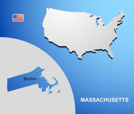 Massachusetts on USA map with map of the state Vector