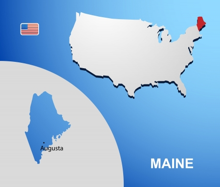 Maine on USA map with map of the state Vector