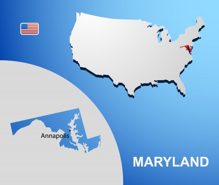 Maryland on USA map with map of the state Vector