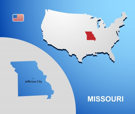Missouri on USA map with map of the state Vector