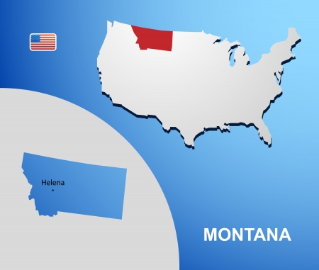 Montana on USA map with map of the state Vector