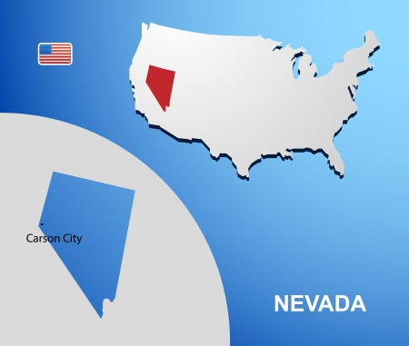 Nevada on USA map with map of the state Vector