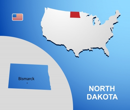 North Dakota on USA map with map of the state Vector