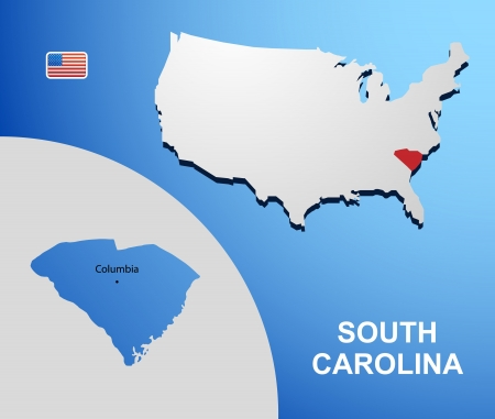 South Carolina on USA map with map of the state Vector