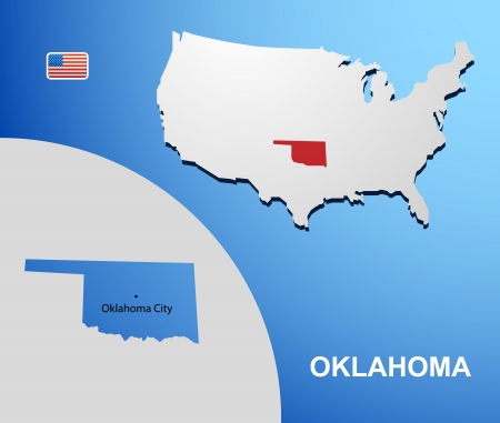 Oklahoma on USA map with map of the state Vector
