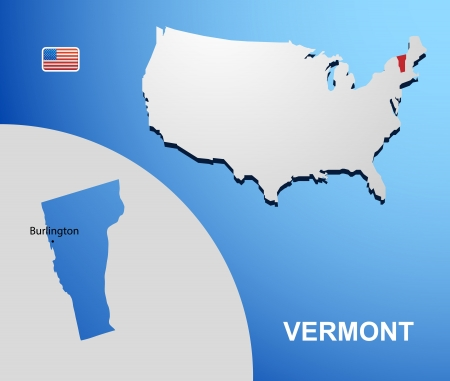 Vermont on USA map with map of the state Vector