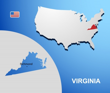 Virginia on USA map with map of the state Vector