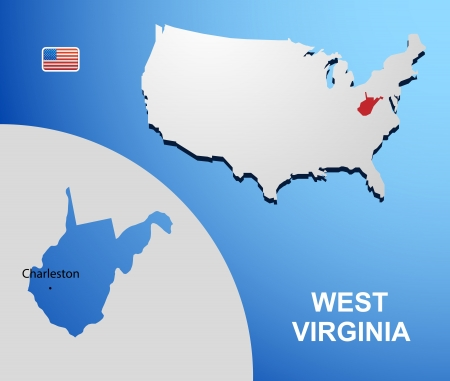 West Virginia on USA map with map of the state Vector