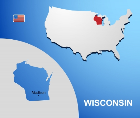 Wisconsin on USA map with map of the state Vector