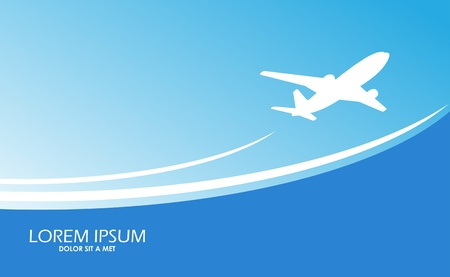paper airplane: Travel airplane ticket blue   background
