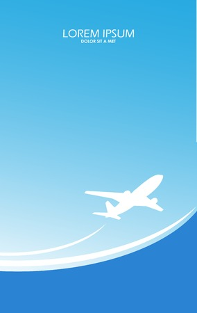 Travel airplane ticket blue  background Vector