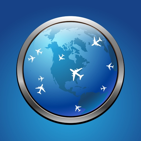 Airplane symbol with USA vector design Vector