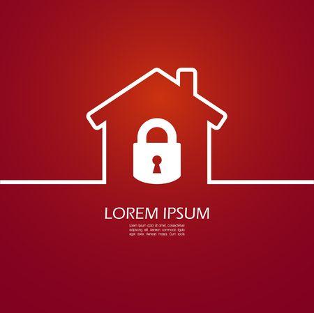 safe house: House lock icon Illustration