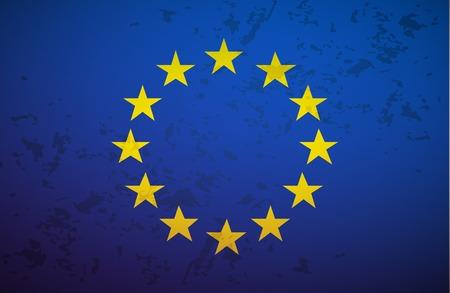 Flag European Union isolated on grunge background vector Illustration