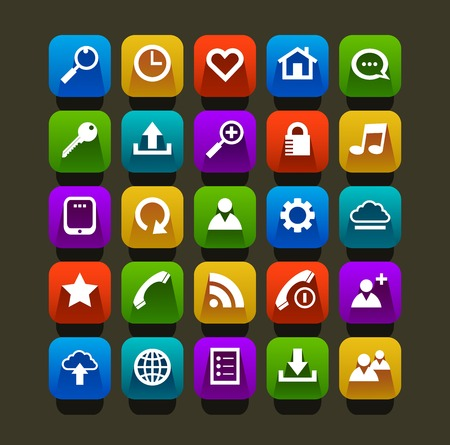 Flat icon mobile vector set Vector