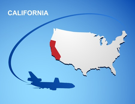 California on USA map Vector