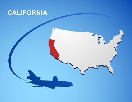 California on USA map Vector
