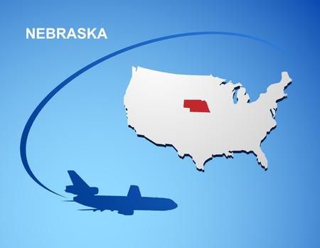 land mark: Nebraska on USA map