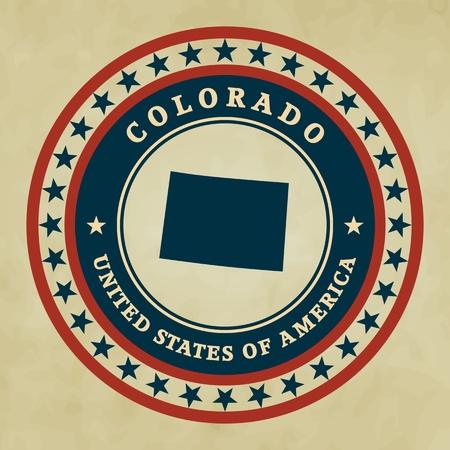 colorado state: Vintage label with map of Colorado, vector
