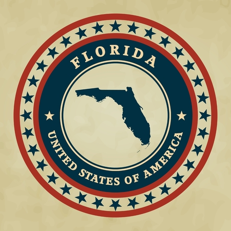 Vintage label with map of Florida, vector Vector