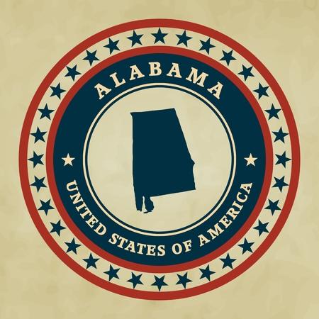 alabama: Vintage label with map of Alabama, vector Illustration