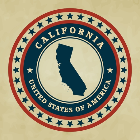 Vintage label with map of California, vector Vector