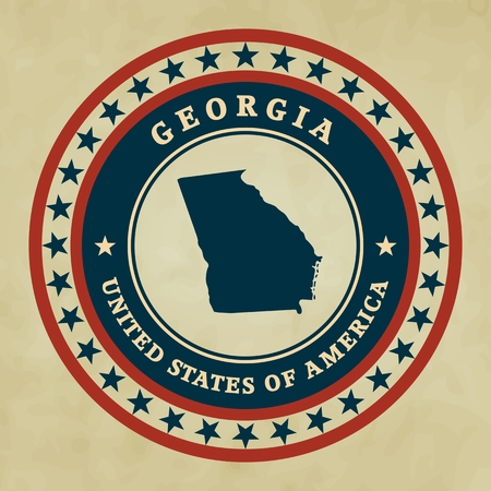 georgia flag: Vintage label with map of Georgia, vector Illustration