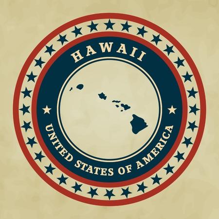hawaii flag: Vintage label with map of Hawaii, vector