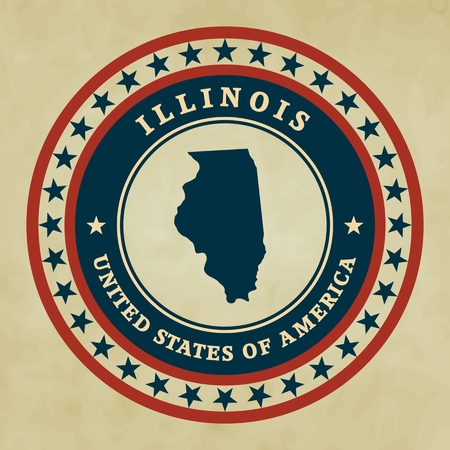 Vintage label with map of Illinois, vector Vector