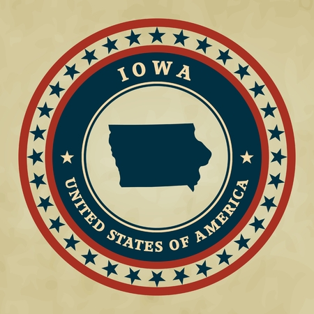 Vintage label with map of Iowa, vector Vector