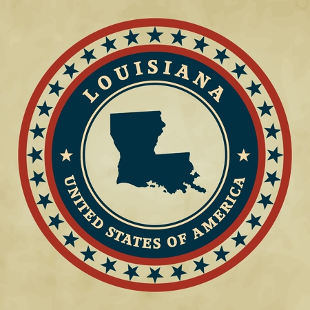 louisiana flag: Vintage label with map of Louisiana, vector Illustration