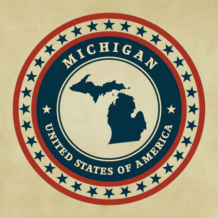 Vintage label with map of Michigan, vector Vector