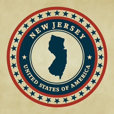 new jersey: Vintage label with map of New Jersey, vector Illustration