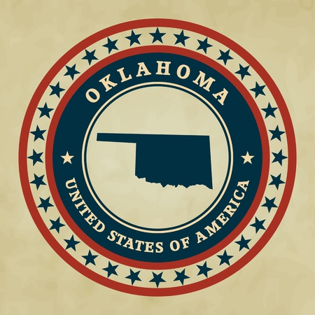 oklahoma: Vintage label with map of Oklahoma, vector