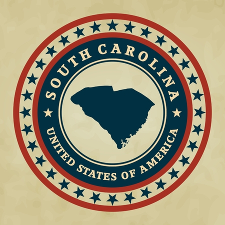 Vintage label with map of South Carolina, vector Vector