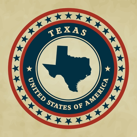 Vintage label with map of Texas, vector Vector