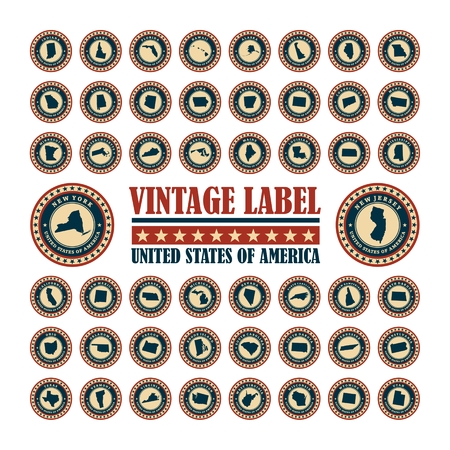 Vector set vintage label with map of states USA Vector