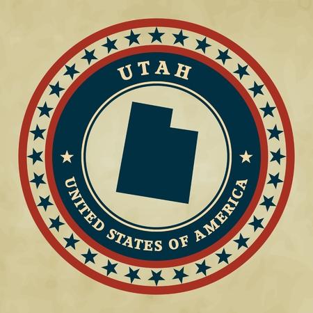 patriotism: Vintage label with map of Utah, vector