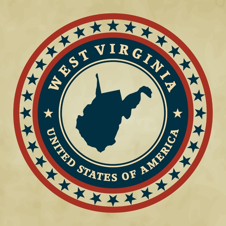 west virginia: Vintage label with map of West Virginia, vector