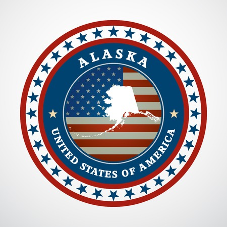 Label with map of Alaska, vector Vector