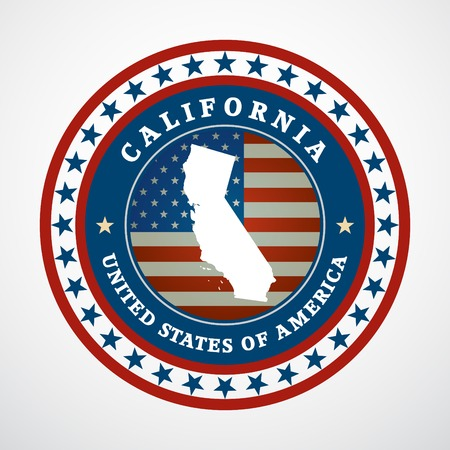 Label with map of California, vector Vector