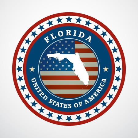 Label with map of Florida, vector Vector