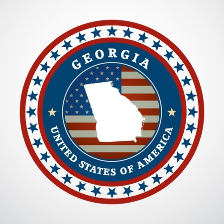 georgia flag: Label with map of Georgia, vector Illustration